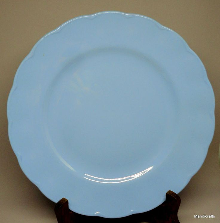 Grindley #Petalware #Dinner #Plate x 2 #Lupin Blue 9.75in Scalloped Vintage #Grindley MidCenturyModern