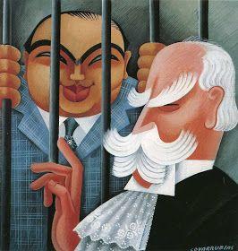 Vanity Fair illustration of Al Capone and Chief Justice Charles Evans Hughes by Miguel Covarrubias, October 1932