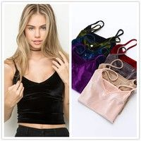 Wish | Womens Spaghetti Strap Velvet Cropped Tank Top Cami