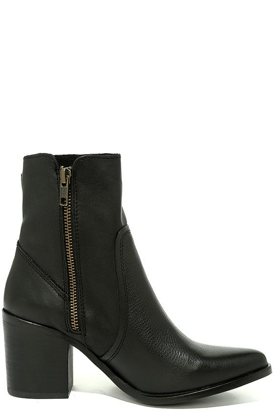 """Strolls through central park just got better, thanks to the Steve Madden Peaches Black Leather Mid-Calf Boots! Ultra supple genuine leather covers a pointed-toe upper, and carries into a flexible, mid-calf shaft with an 6"""" zipper at the instep."""