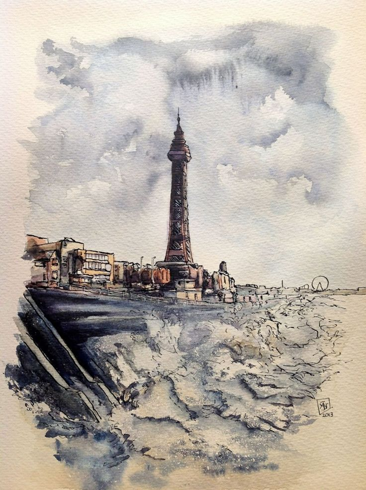 blackpool tower sea front and watercolour