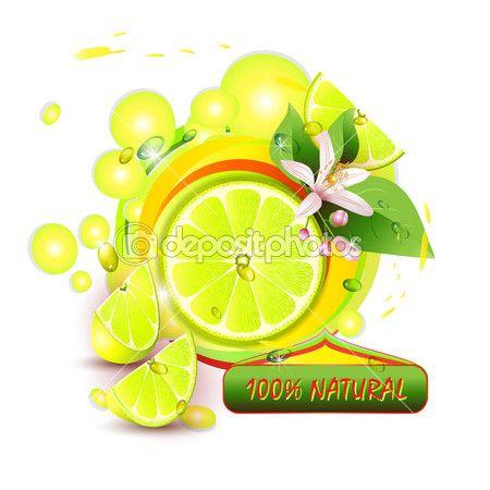 Ломтики лимона с цветами — стоковая иллюстрация #10203579