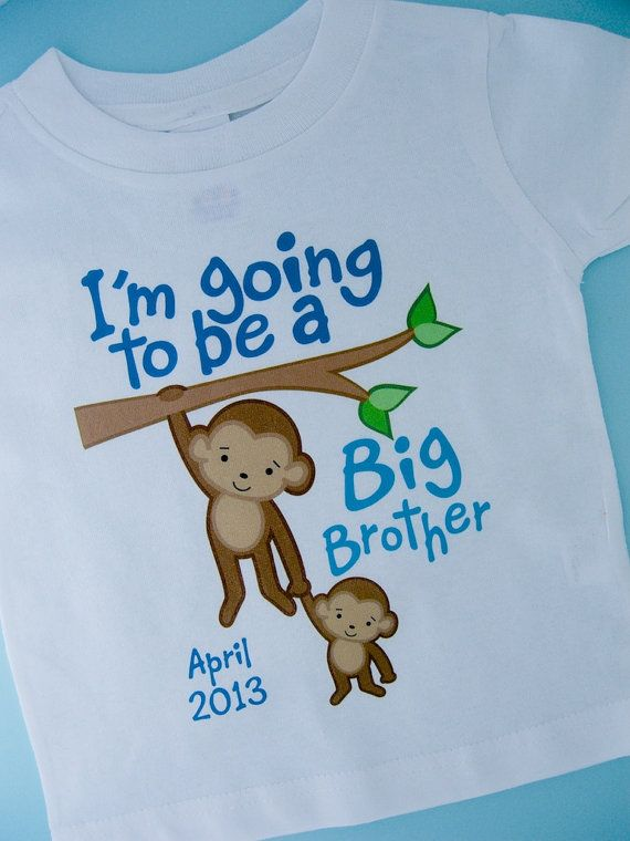 Im Going to Be A Big Brother Shirt, Big Brother Onesie, Personalized with Due Date, Monkey Shirt with Little Brother or Unknown Sex Baby via Etsy