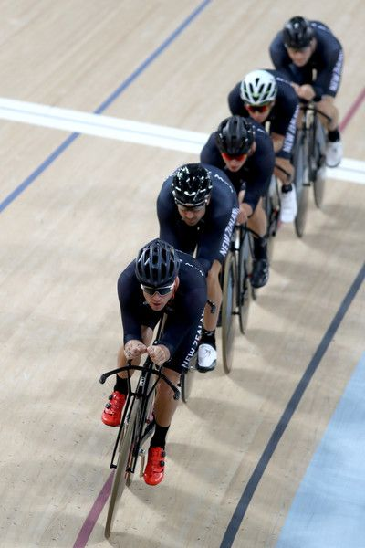 The New Zealand Mens Team practice at the Rio Olympic Velodrome 3-08-216 Getty…