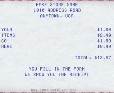 You can make your own receipts for whatever reason. It's oddly fun.