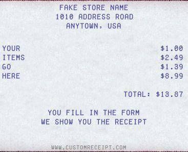 Custom Receipt Maker. Generador de Ticket de compra