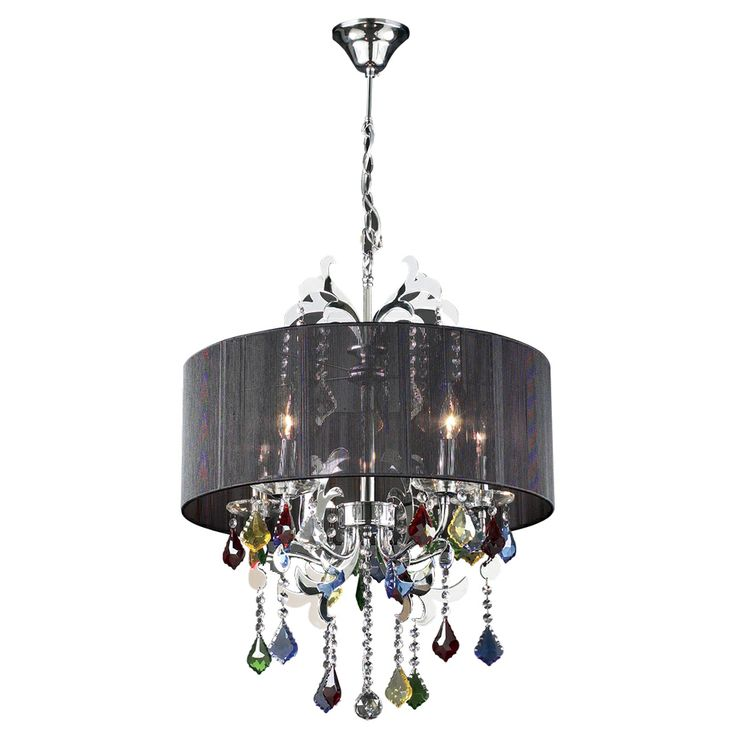 Plc 34112 Torcello Colored Crystal Shaded Chandelier Pc Lamp 5 X Not Included Finish Polished Chrome Asfour Handcut Shade Black