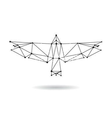 Geometric bird design silhouettet vector