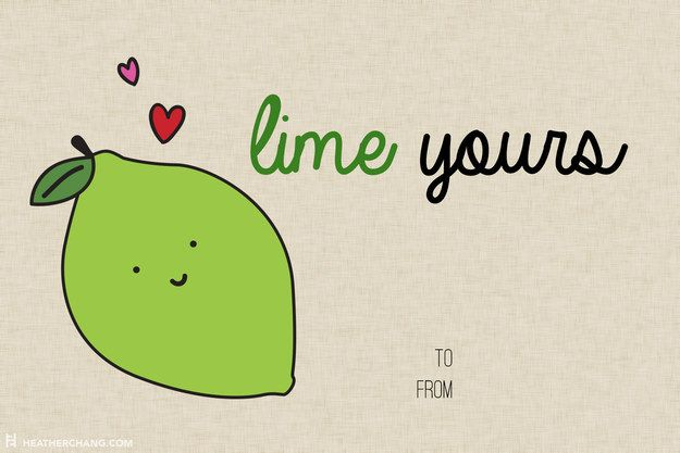 Not gonna lime—this one is pretty cute. | 10 Printable V-Day Cards With Food Puns So Bad They're Almost Good