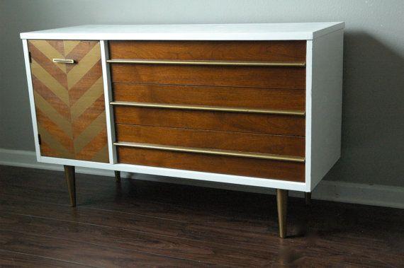 SOLD | Mid Century Modern Dresser by Bassett | Gold Herringbone Pattern on Etsy, $650.00