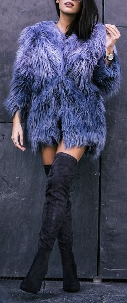 Over the knee suede boot + shag coat.