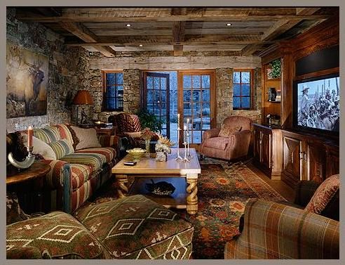 Snake River Residence Rustic Media Room Other Metro Jlf Associates Inc