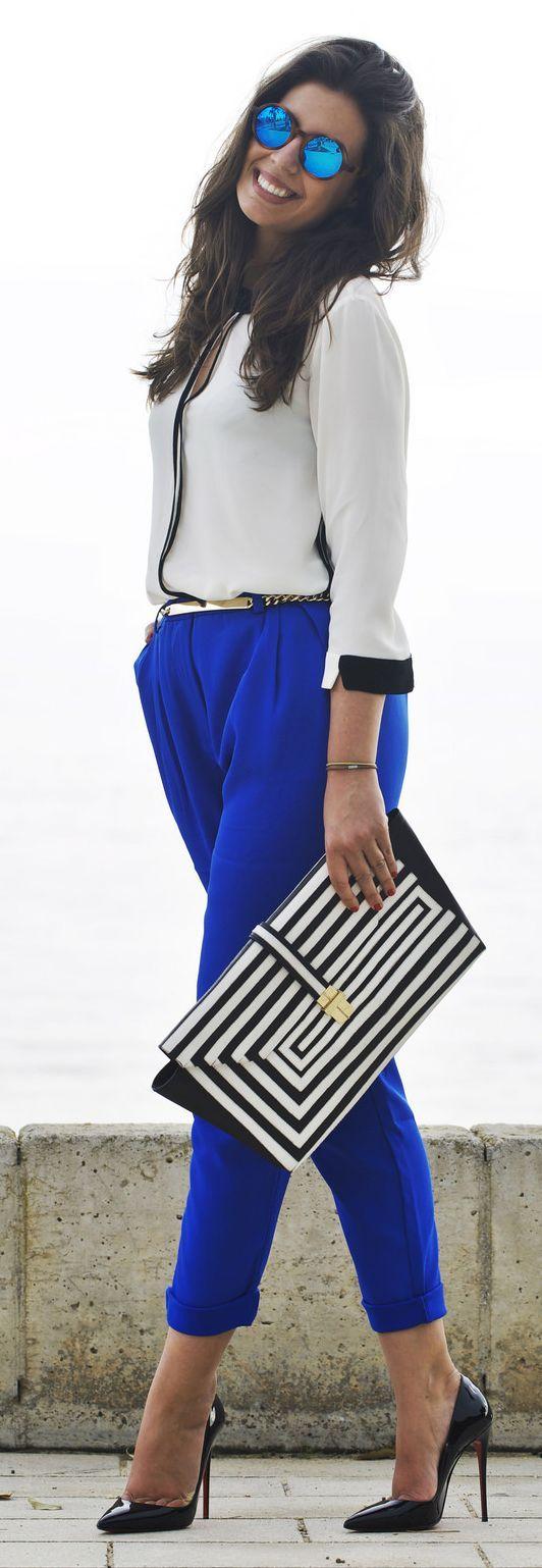 Indigo Blue Pants Outfit Idea by 1sillaparamibolso