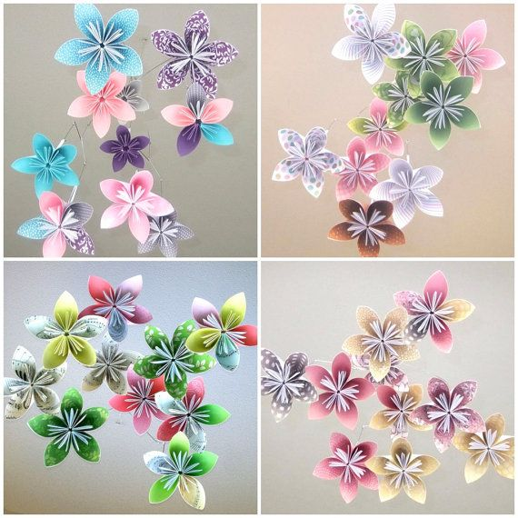 Custom Flower Mobile Origami Flower Mobile Baby by Katiemommy