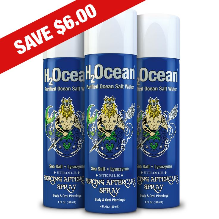 H2Ocean Piercing Spray Piercing Aftercare Sprays H2Ocean 4oz 3Pack for $30 helps to cleanse all your piercings and body modifications.