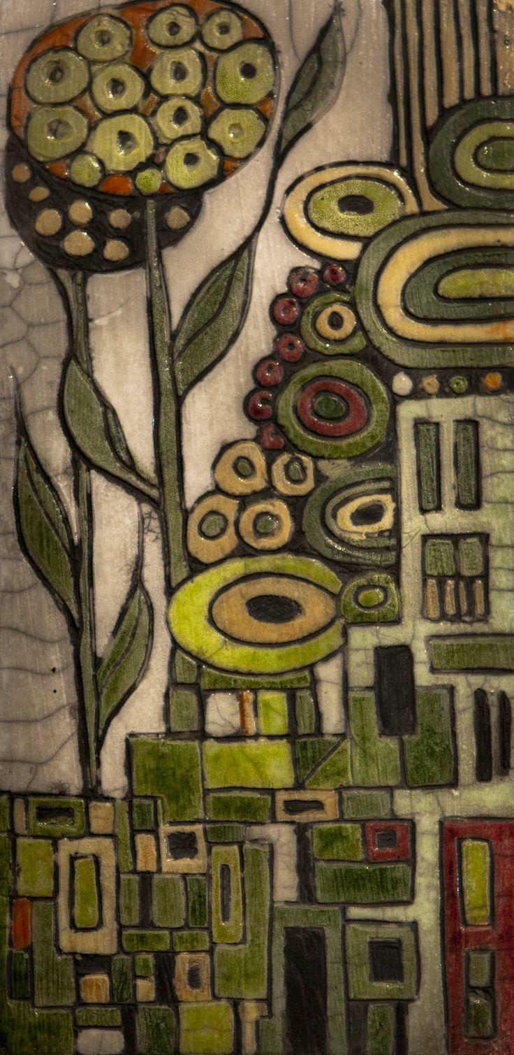 Greenhouse - a wall plaque in raku fired glazed clay by Lynne Wilson