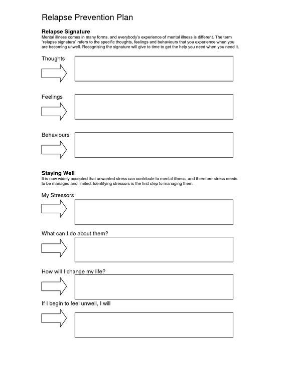 free worksheets for recovery relapse prevention addiction women - Google Search