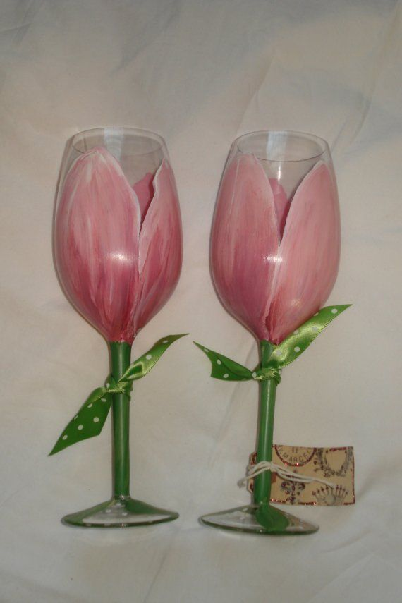 Hand Painted Pink Tulip Wine Glasses Great for by samdesigns22