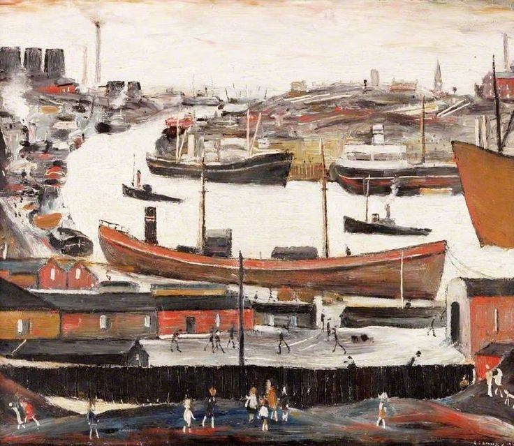 The River Wear at Sunderland, United Kingdom, 1963, by LS Lowry