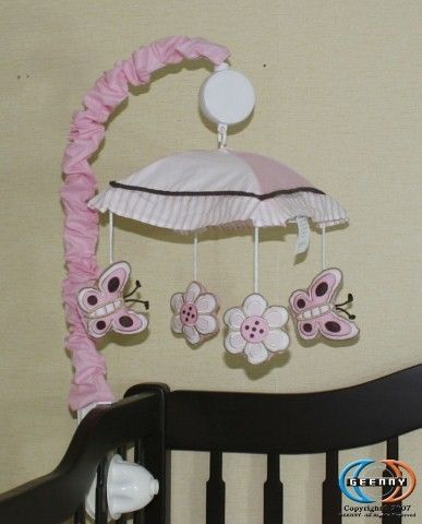 Musical-Mobile-For-Pink-Brown-Butterfly-Bedding-Set