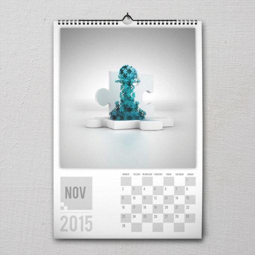 November 2015 #PremiumChessArtCalender #PremiumChess #chess #art #calender #kalender #LikeableDesign #illustration #3Dartwork #3Ddesign #chesspieces #chessart