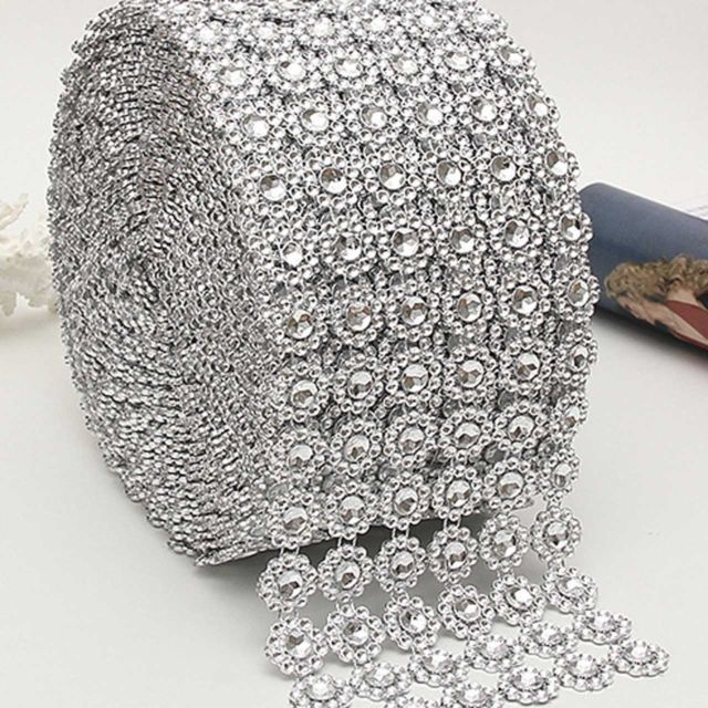 6 ROWS FLOWER DIAMOND MESH WRAP ROLL CRYSTAL RHINESTONE BLING RIBBON