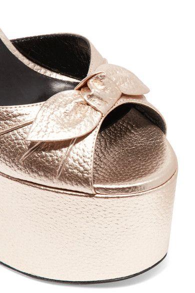 Saint Laurent - Bow-embellished Metallic Textured-leather Platform Sandals - Platinum - IT37.5