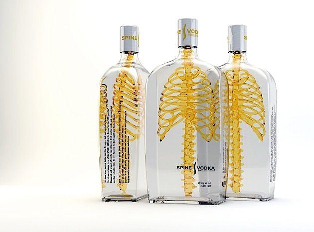 Verpackung: Spine Vodka – Flaschen mit Skelett   KlonBlog