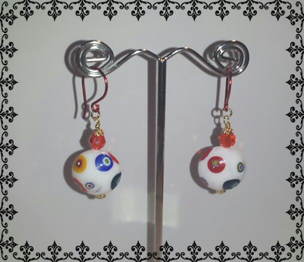 Really red earrings with Murano beads and enamel infused hooks.
