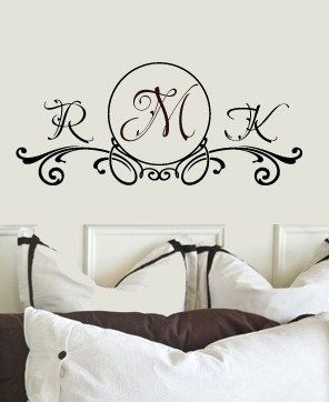 Couples PERSONALIZED Custom Initials Ornamental Monogram Bedroom Vinyl Wall Lettering Words Decal 36wx17h