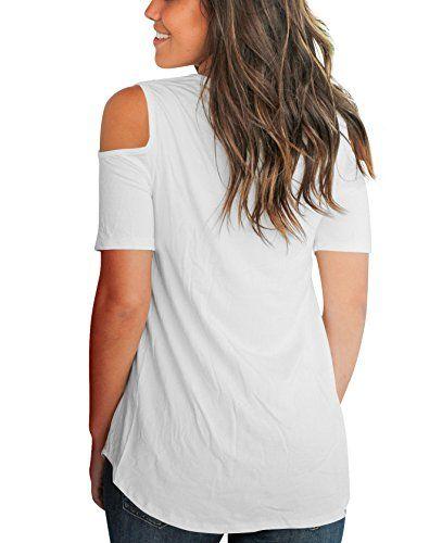 c0f53fc5ecda91 Aolakeke Cold Shoulder Short/Long Sleeve T Shirts V Neck Tops Casual Criss  Cross Tunic