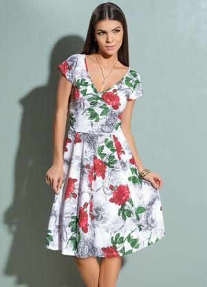 8da3da932 Vestido Decote V Transpassado (Floral). Vestido Decote V Transpassado ( Floral) Queima De Estoque ...