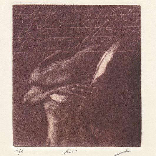 Artistic handmade card from Jan Černoš: Sonnet. Mezzotint.