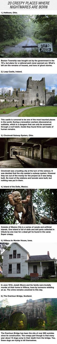 Creepy Places Around The World. I don't know where to pin this, so deal with it.