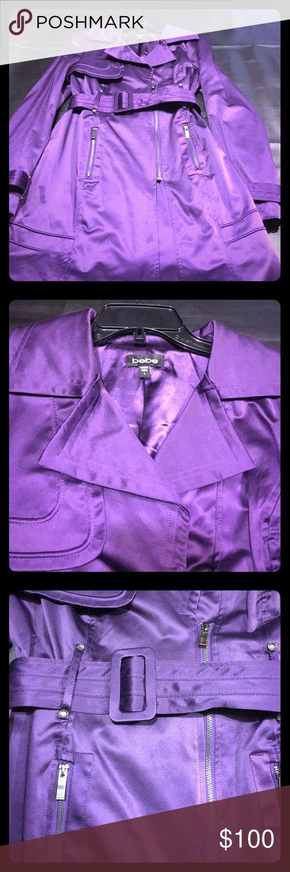 Bebe dark purple jacket Lovely dark purple trench great for a date night! bebe Jackets & Coats Trench Coats