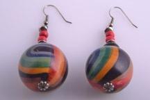 Wood 1960's Pop Hook Earrings