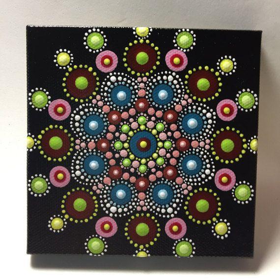 Handgeschilderde Mandala op Canvas meditatie Dot door MafaStones