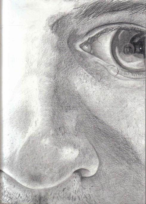 """Autoportrait no.12 / Self-portrait no.12 2003 11"""" x 17"""" Crayon mine sur papier Pencil on paper"""