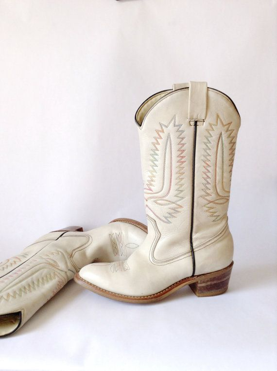 White Cowgirl Boots Off White Cream Colored Ladies