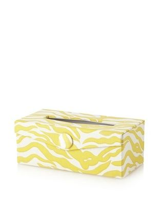 Image By Charlie Cotton Sateen Kenya Rectangular Tissue Box, Zebra, Golden Yellow and Off-White