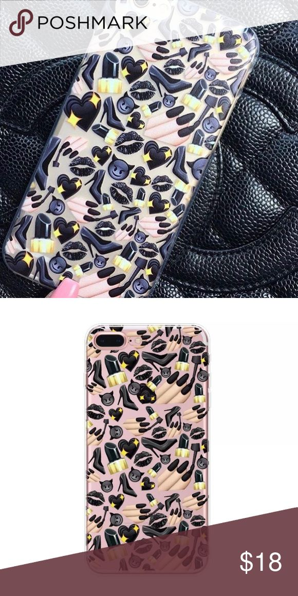 Black emoji iPhone 7 case New trendy case! Fits iPhone 7. Soft bendable material. Clear case with black emoji designs. Protects all sides and edges. No trades. Price is negotiable through the offer button. Bundle items for a better price! Accessories Phone Cases