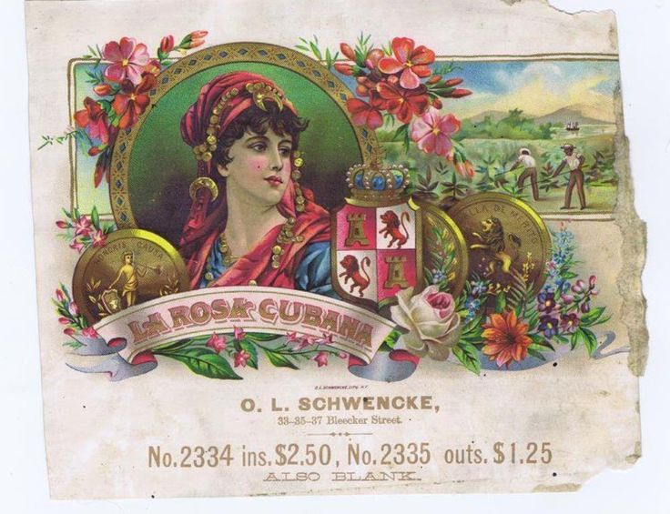"Board ""Art-Seductive Women of Cigars Labels"". - La Rosa Cubana Cigars. - Lithograph by O.L.Schwencke with a woman wearing coins jewelry. -"