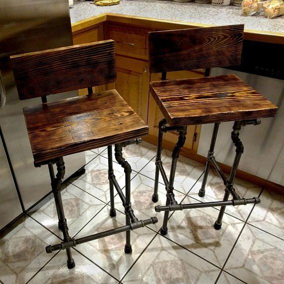 Superb Custom Bar Stool The Damon Charred Finish And Black Pipe Evergreenethics Interior Chair Design Evergreenethicsorg
