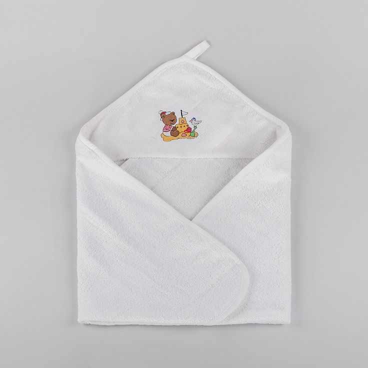 Junior Joy ® - 100% Cotton - White Embroidered Baby Hooded Bath Robe - Code No: 6065 Colours: White with 3 designs Size/Cm: 70 x 80