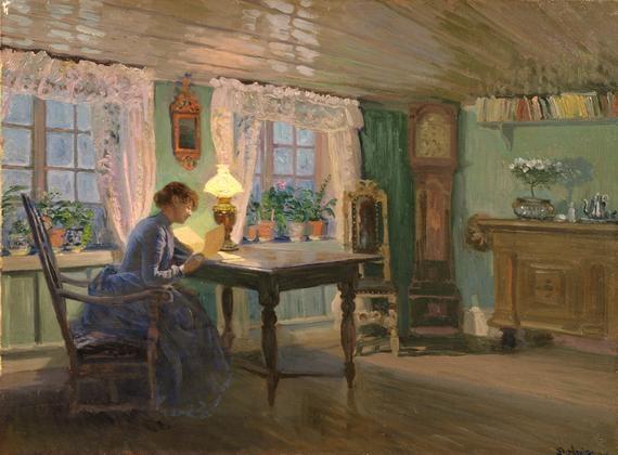 Christian Skredsvig (1854-1924): The Blue Living room at Fleskum