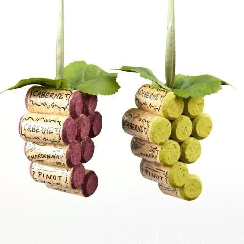 Wooden Cork Grapes Ornaments, 4-Inch, 2-Piece