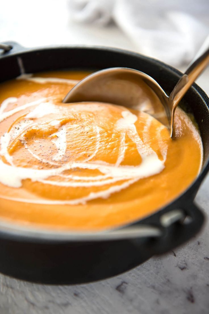 A classic, super easy pumpkin soup that's fast to make. No cream required to…