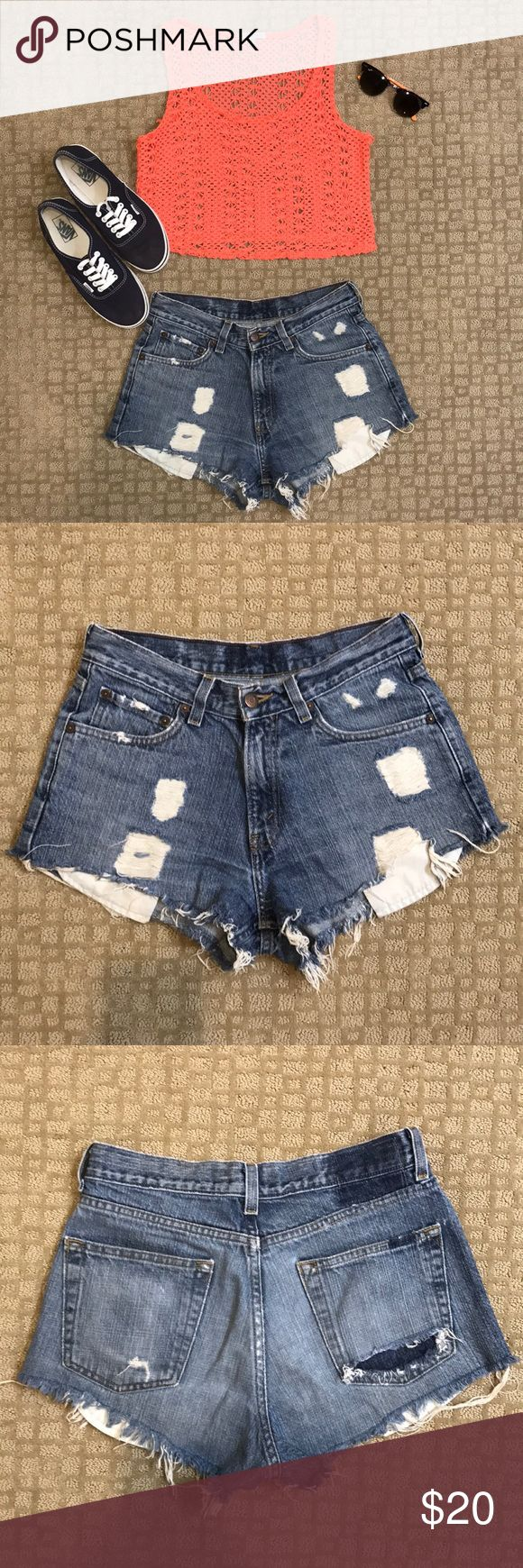 High waisted jean shorts Urban Outfitters high waisted jean shorts size 6. They're a part of their reclaimed/recycled line so there is no size tag Urban Outfitters Shorts Jean Shorts