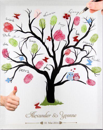 Die Fingerabdruck Leinwand als eine völlig neue Art Hochzeitsgästebuch. Mit einer solchen Initiative machen die Hochzeitsgästeden wichtigsten Tagim Leben unvergesslich!