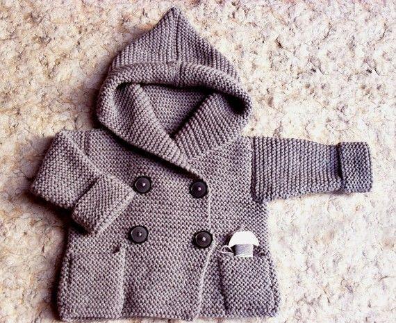 Hand KnitDuffel Coat for Baby Light Grey  Pure Wool or por Pilland